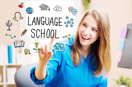 Language School concept with young woman in her home office